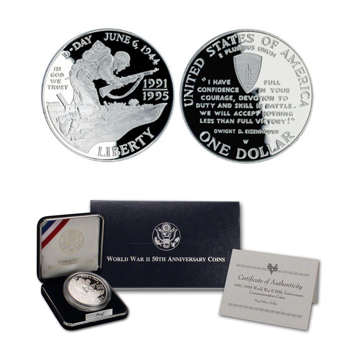 1993-D US World War II 50th Anniversary Commemorative BU Silver Dollar